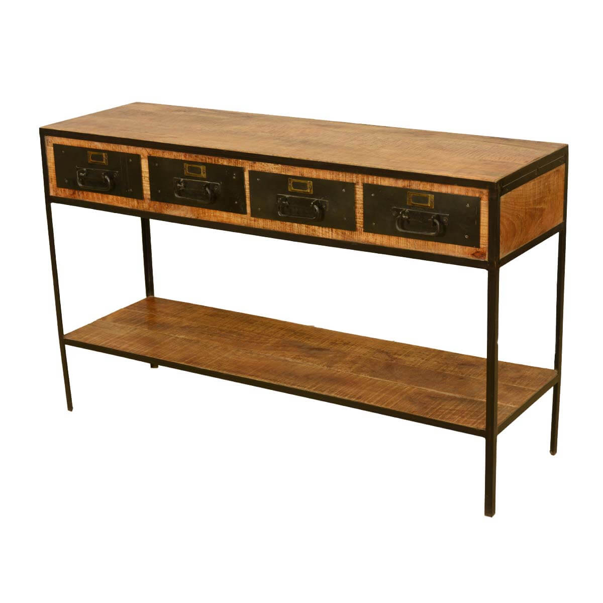 Foyer Table Drawers : Industrial iron drawer tier rustic entry way console