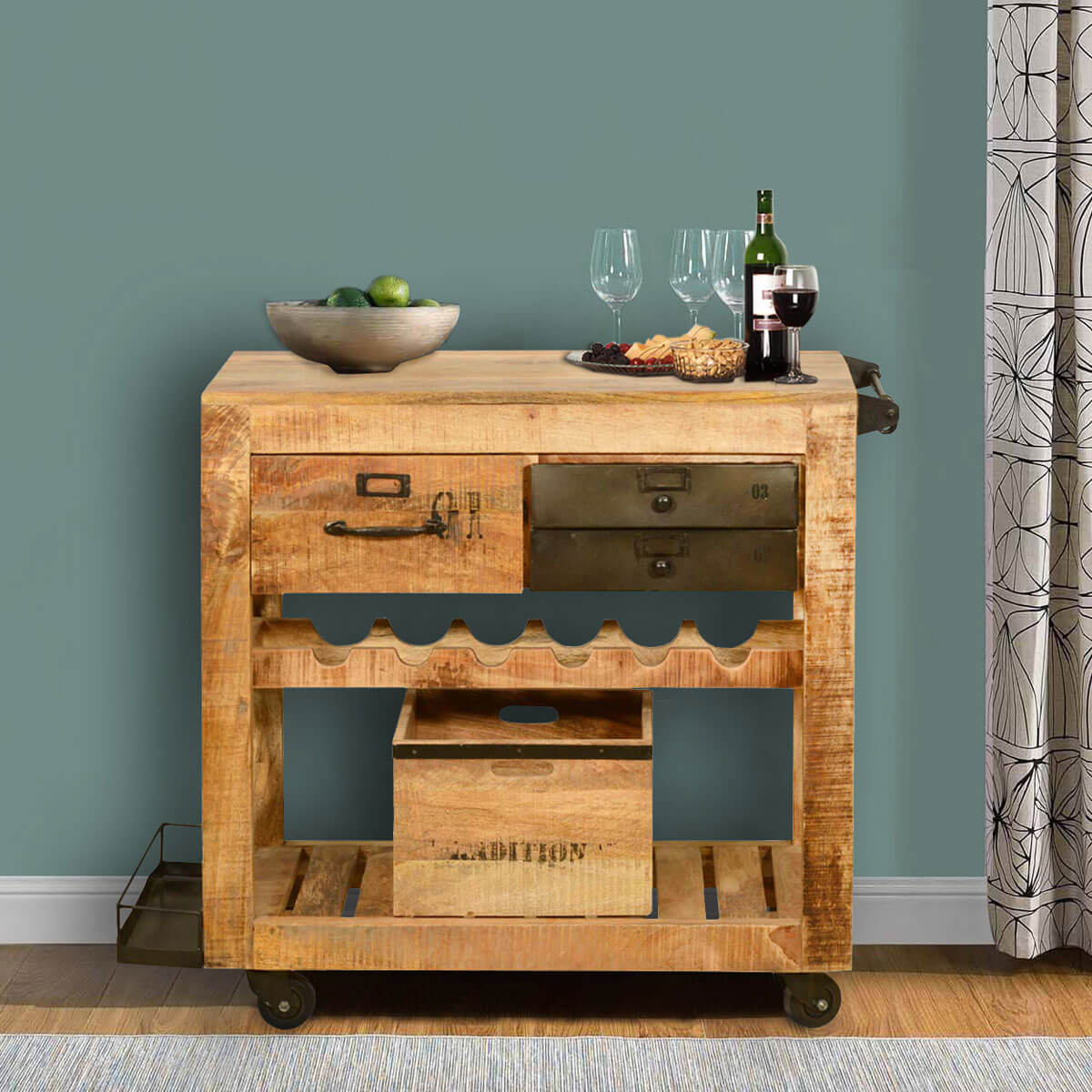 Wood Serving Cart ~ Rustic rolling solid wood and iron wine rack cabinet