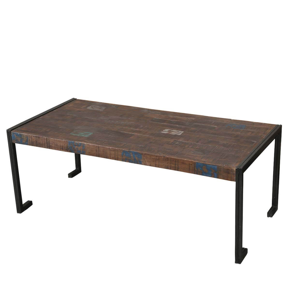 Philadelphia Reclaimed Wood Industrial Metal Frame Rustic Coffee Table: rustic wood and metal coffee table