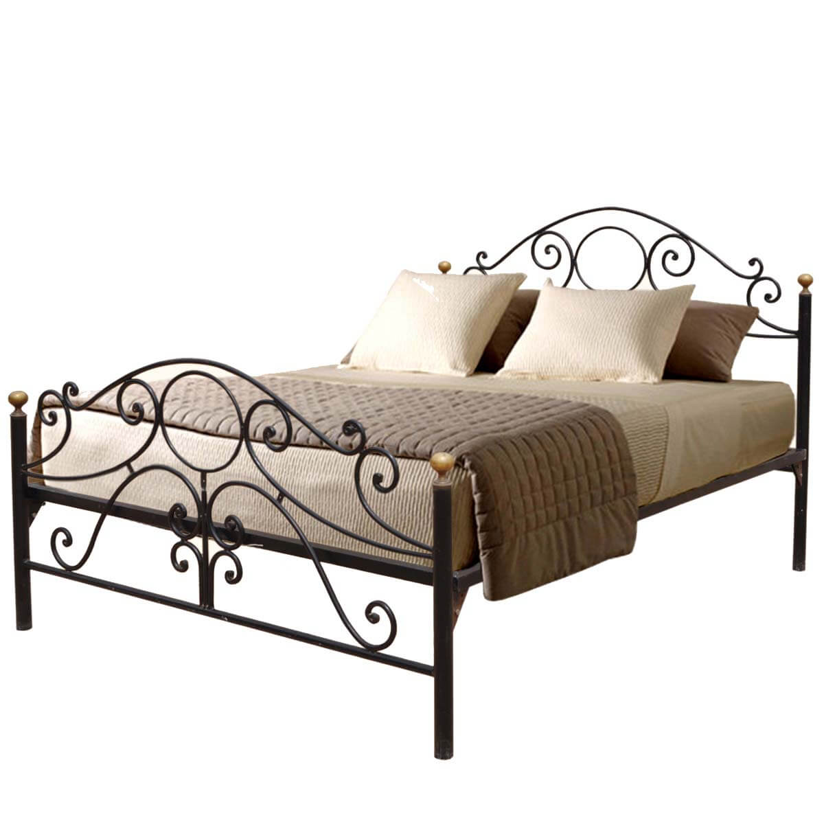 Parisian Black Wrought Iron Decorative Bed W Headboard