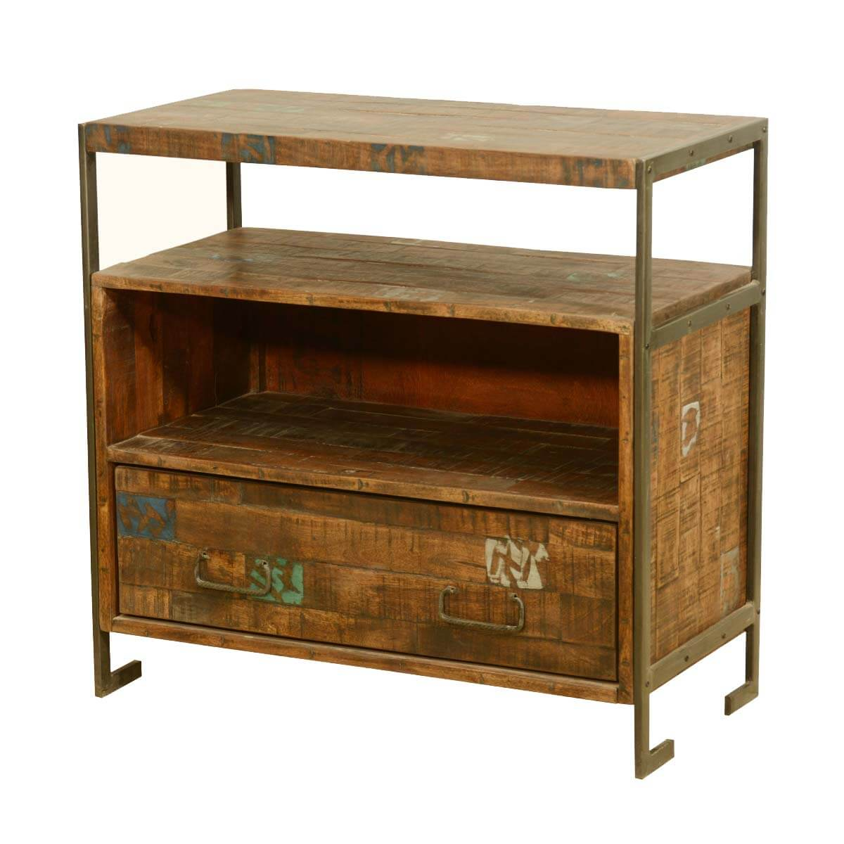 Drakensberg reclaimed wood iron rustic media console tv Rustic tv stands