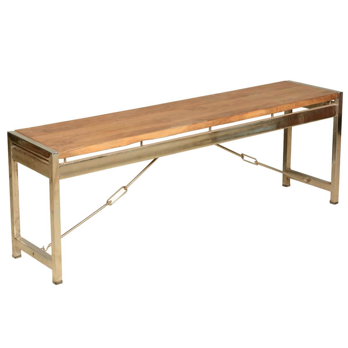 Modern Fusion Rustic Solid Wood Industrial Dining Bench