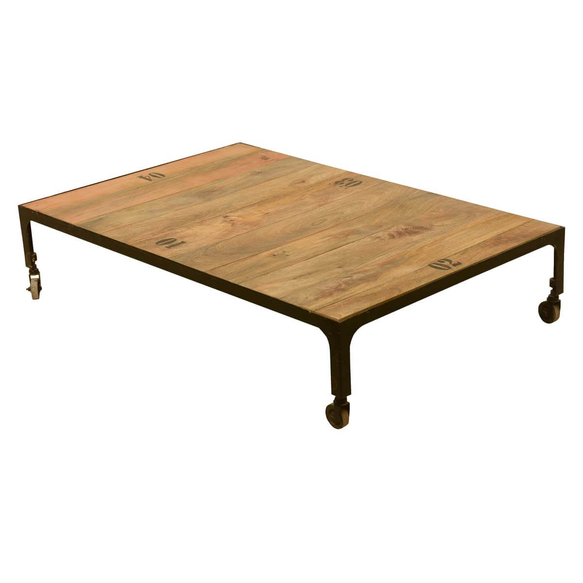 Industrial Fusion Solid Wood Iron Rustic Rolling Cart Coffee Table