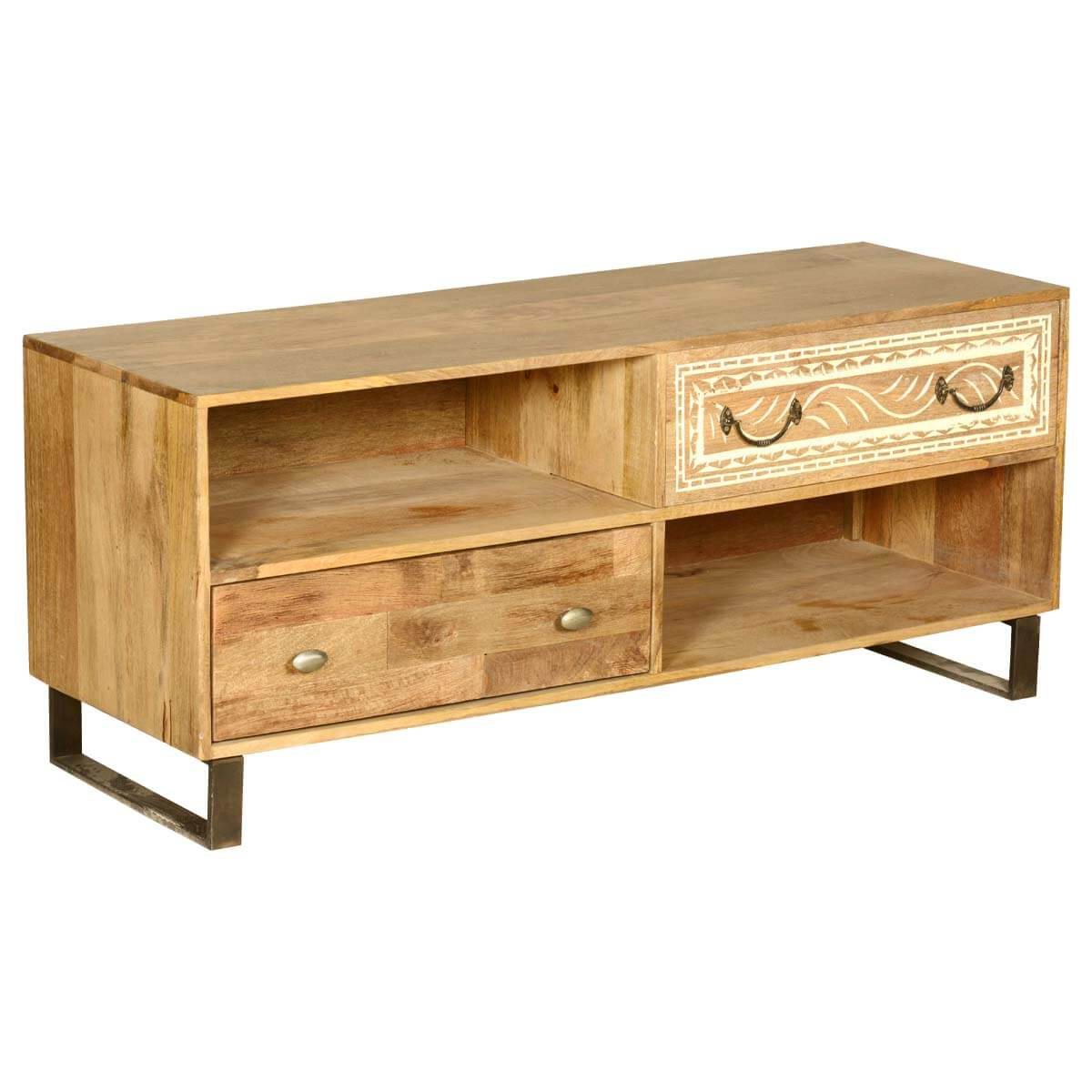 Modern rustic solid wood entertainment center tv stand w 2 Rustic tv stands