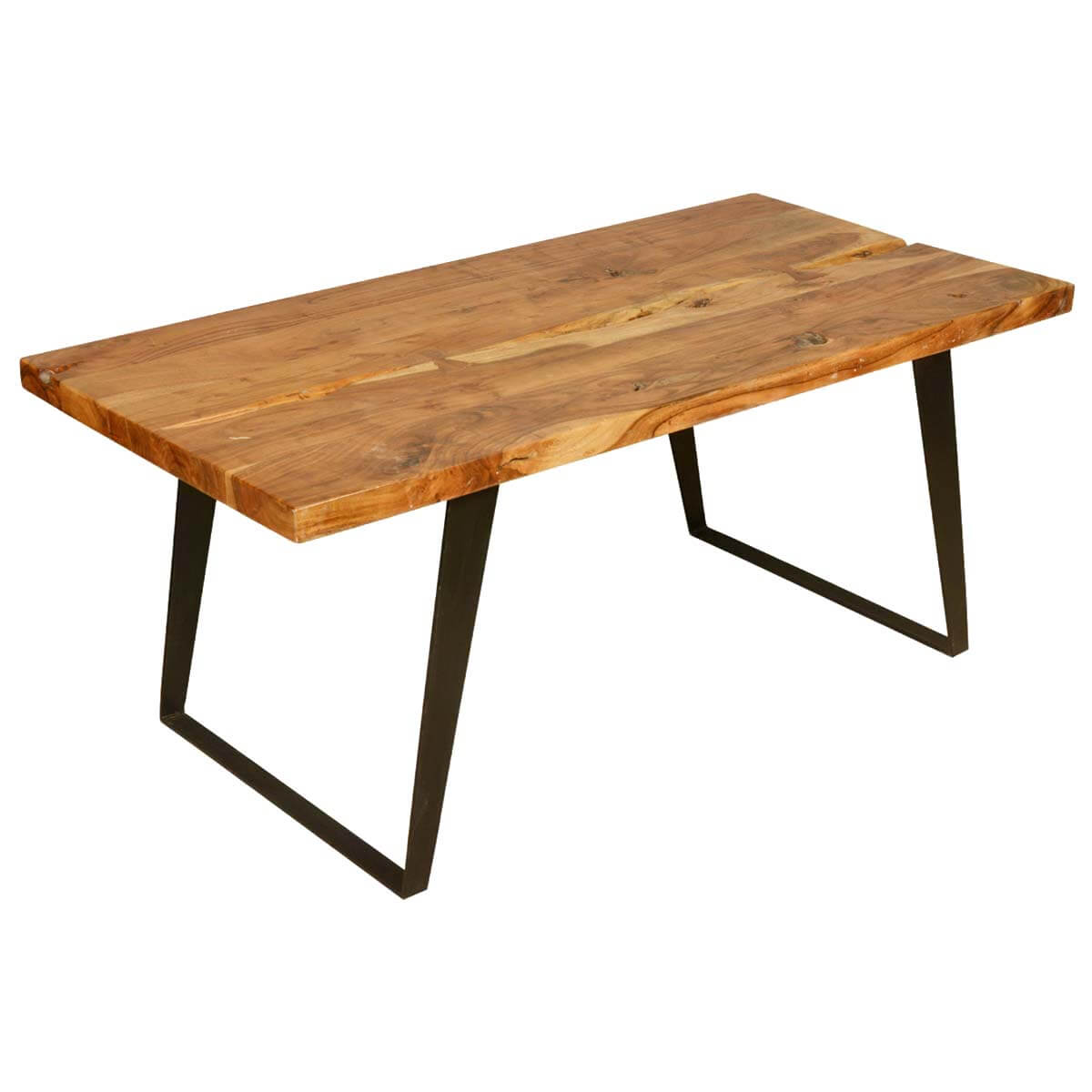 Hankin modern rustic solid wood industrial style dining table for Wood modern dining table