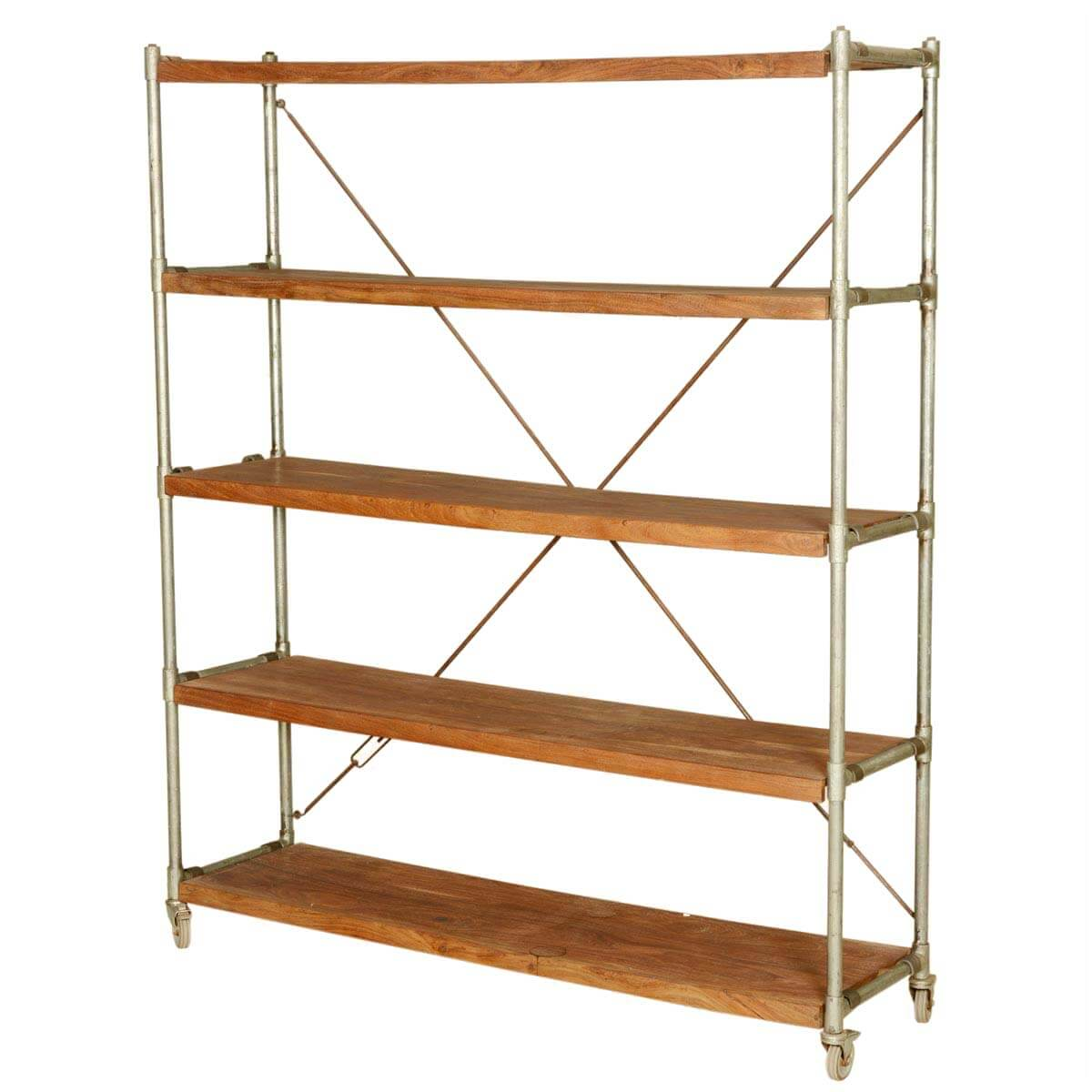 french library shelving wood iron industrial rolling cart. Black Bedroom Furniture Sets. Home Design Ideas