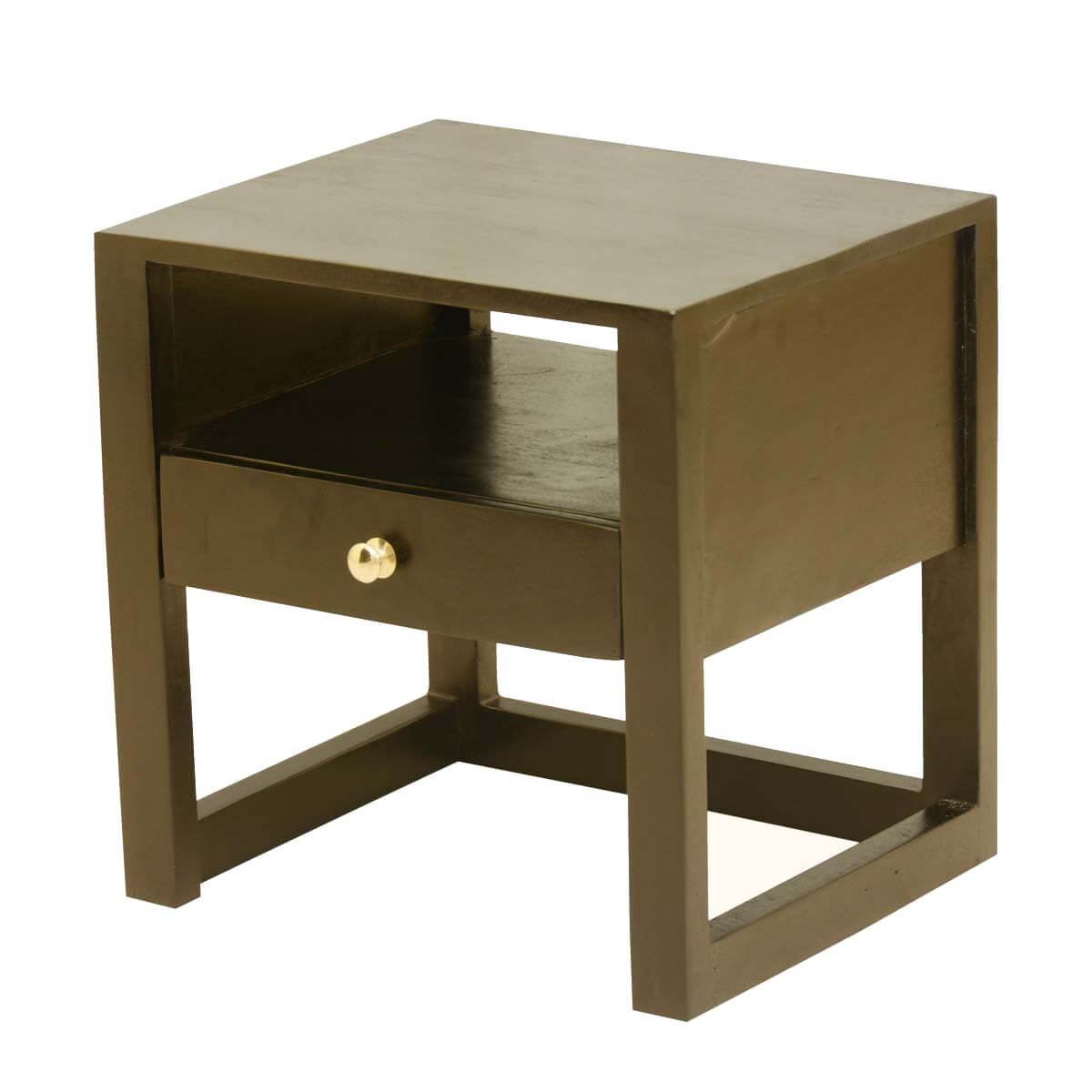 new age mango wood open shelf nightstand accent table w drawer. Black Bedroom Furniture Sets. Home Design Ideas