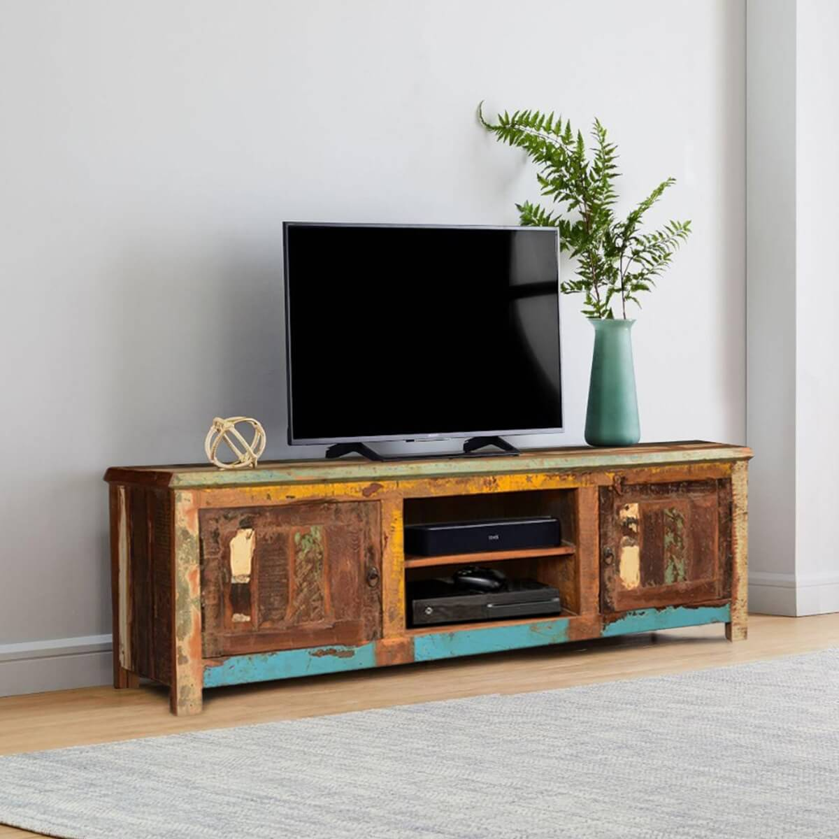Bienville retro style reclaimed wood media tv stand 2 door for Barnwood media cabinet