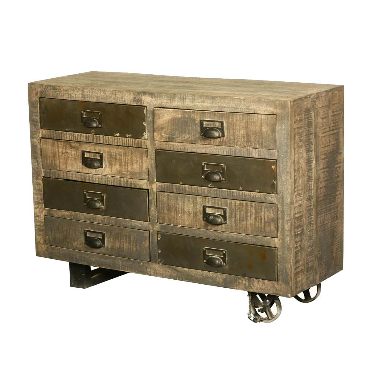 Texas Industrial Solid Wood Rolling 8 Drawer Double Dresser