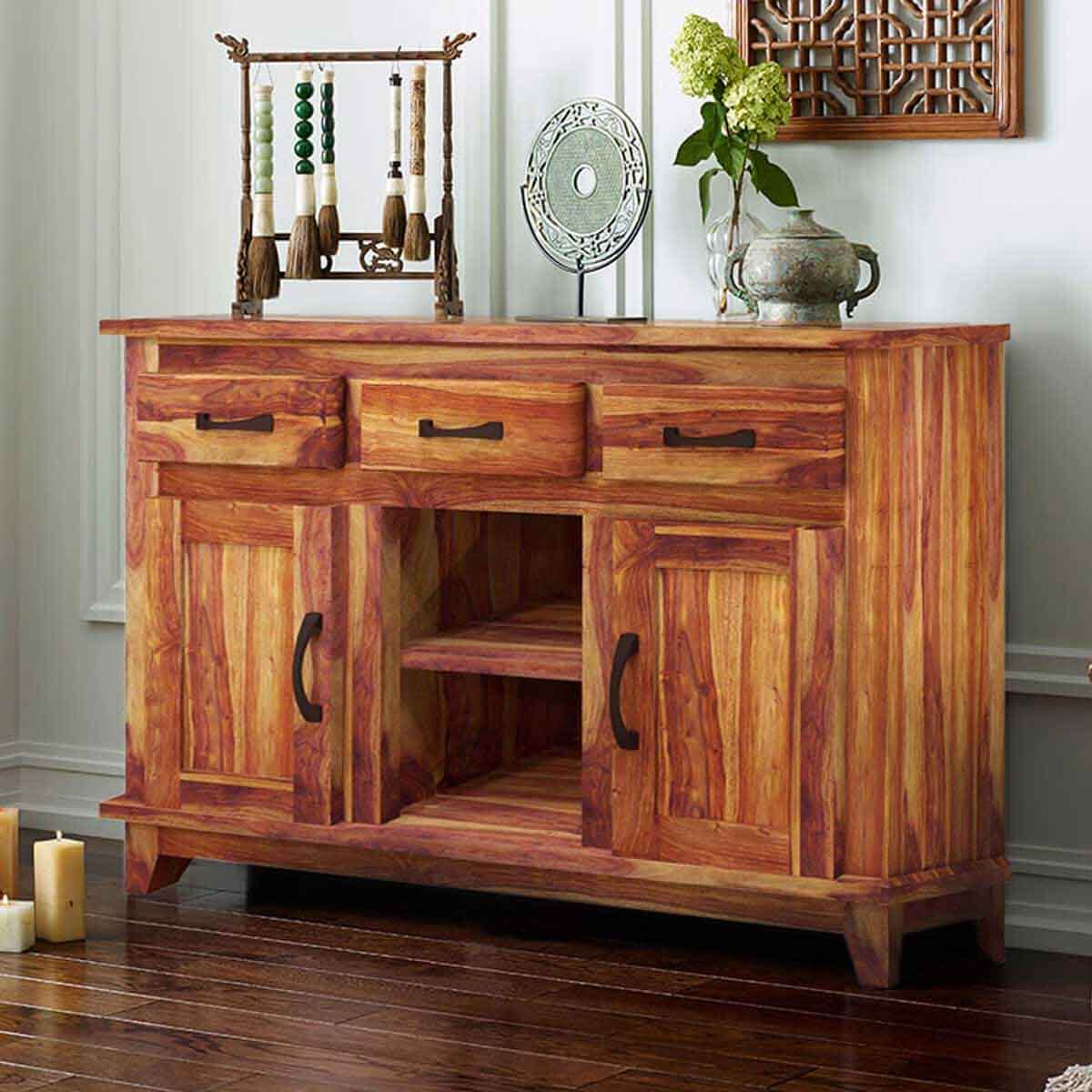 sierra nevada modern rustic solid wood 3 drawer sideboard. Black Bedroom Furniture Sets. Home Design Ideas