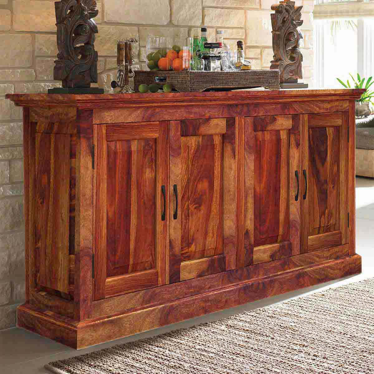 oklahoma rustic solid wood 4 door dining buffet. Black Bedroom Furniture Sets. Home Design Ideas
