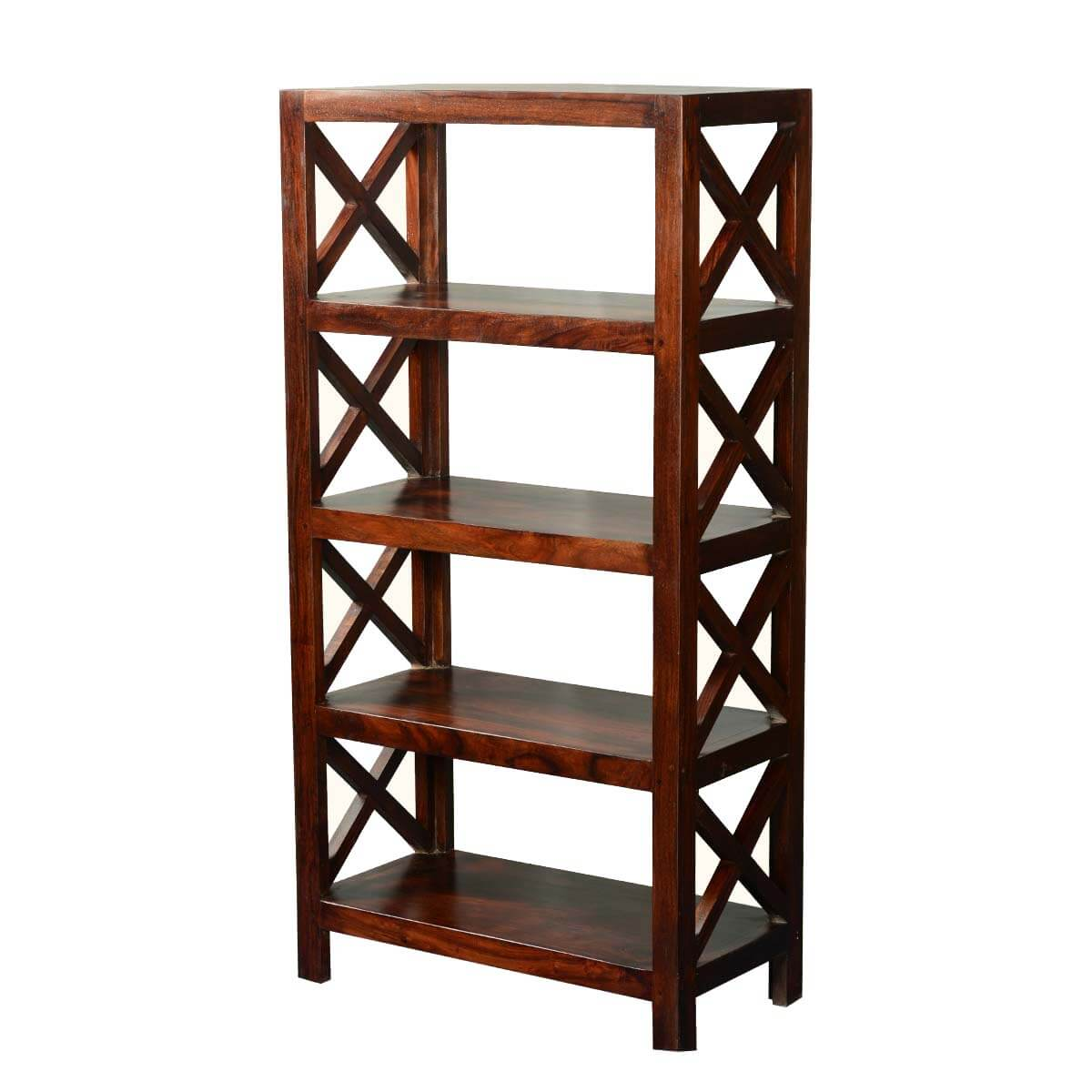 Timber Bookcase: Double X Solid Acacia Wood 4-Shelf Bookcase