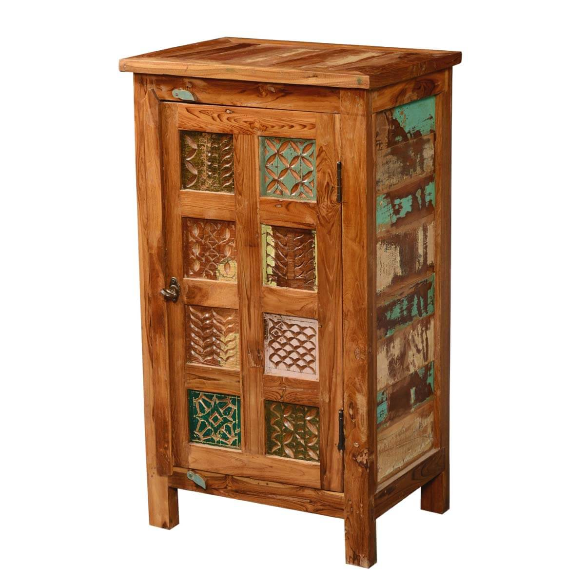 Appalachian Patch Quilt Freestanding Kitchen Cupboard Cabinet