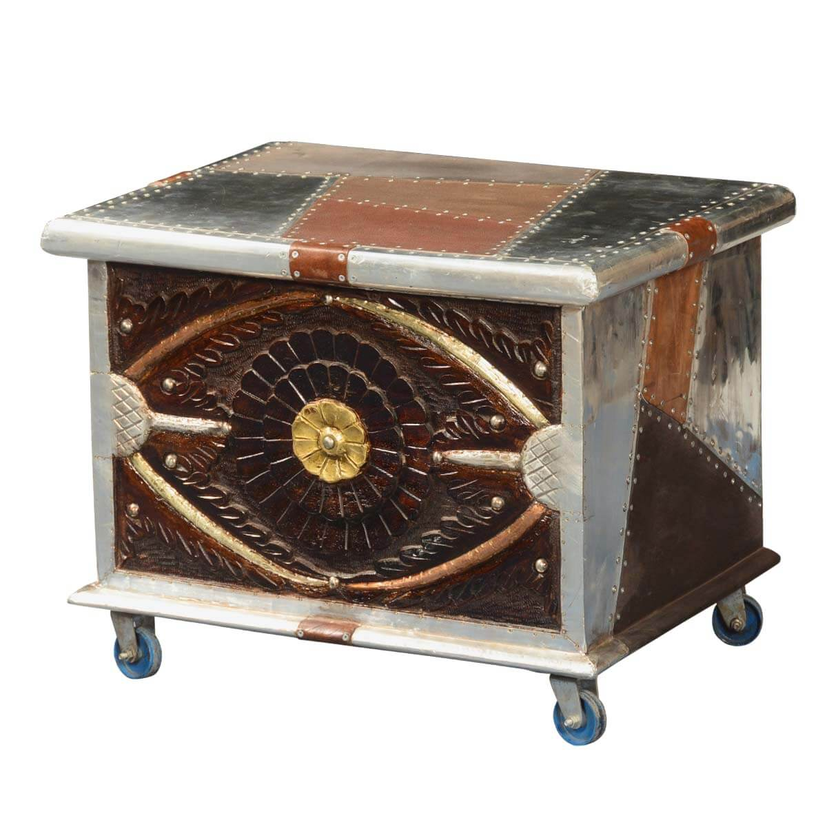 metallic patches mango wood modern rolling coffee table chest. Black Bedroom Furniture Sets. Home Design Ideas