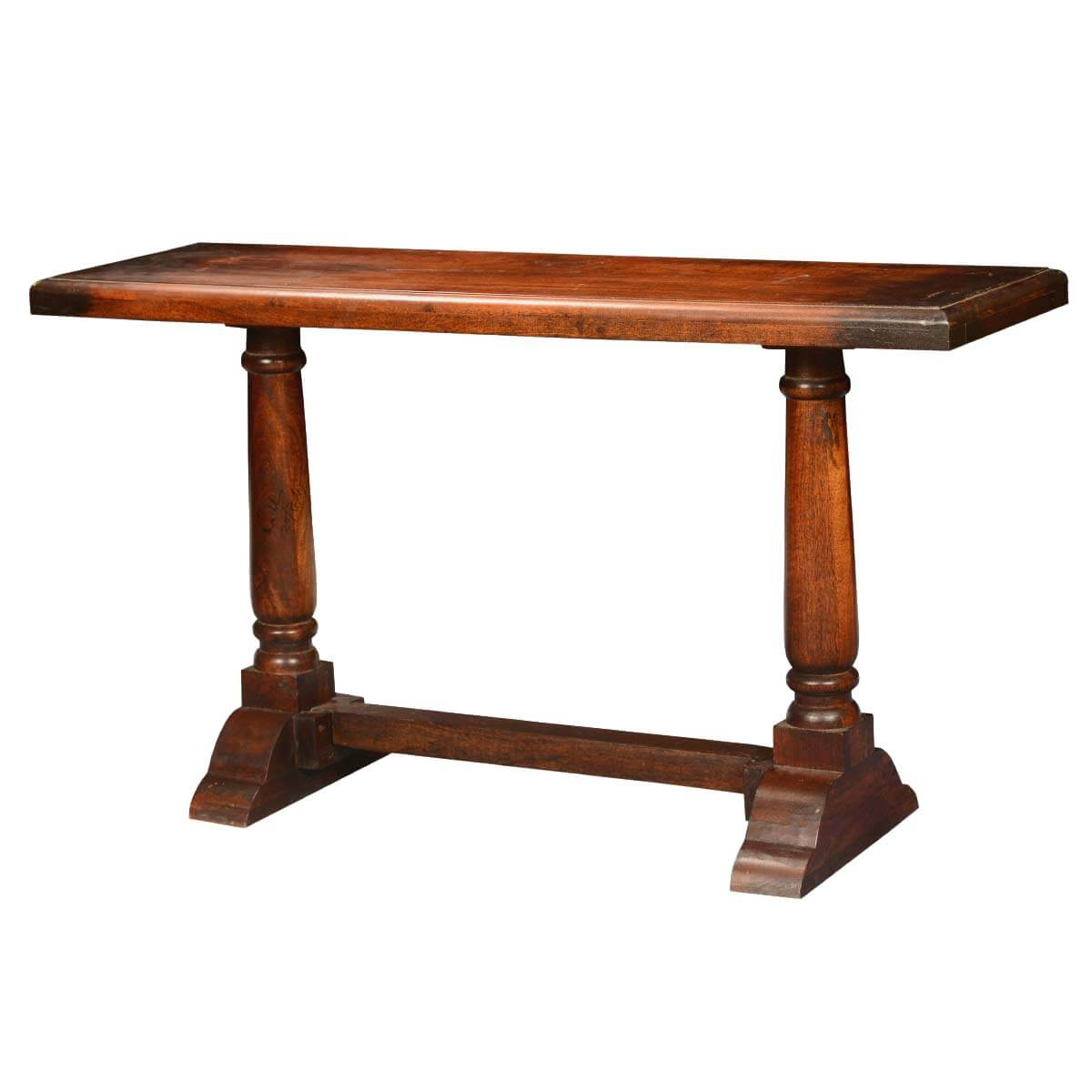 empire acacia wood trestle double pedestal console hall table. Black Bedroom Furniture Sets. Home Design Ideas