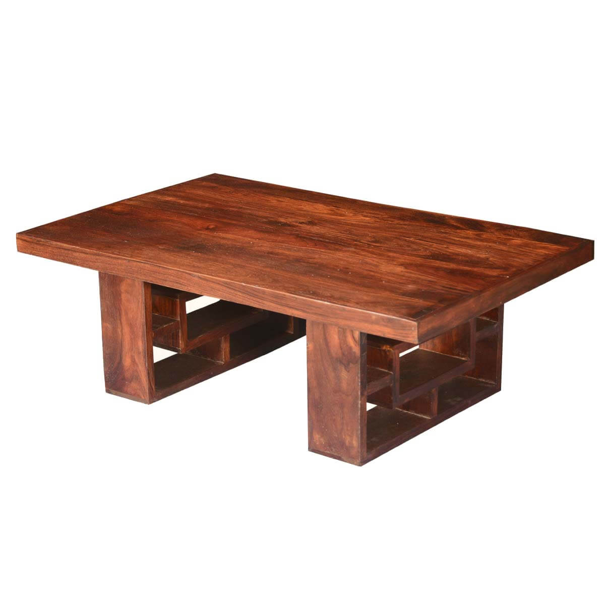 Shadow Box Acacia Wood Double Pedestal Coffee Table