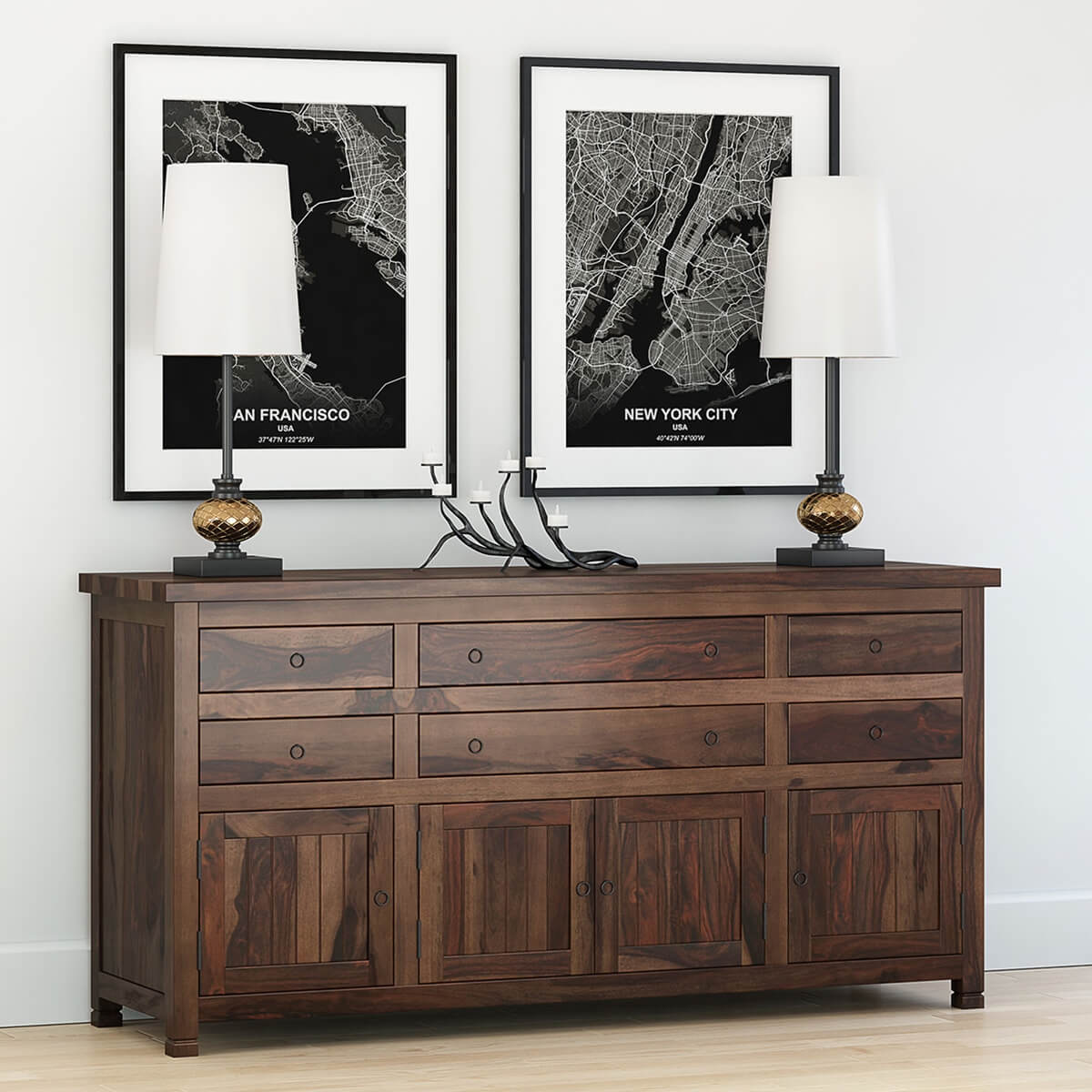 Rustic Traditional Solid Wood 71  Buffet Sideboard Cabinet