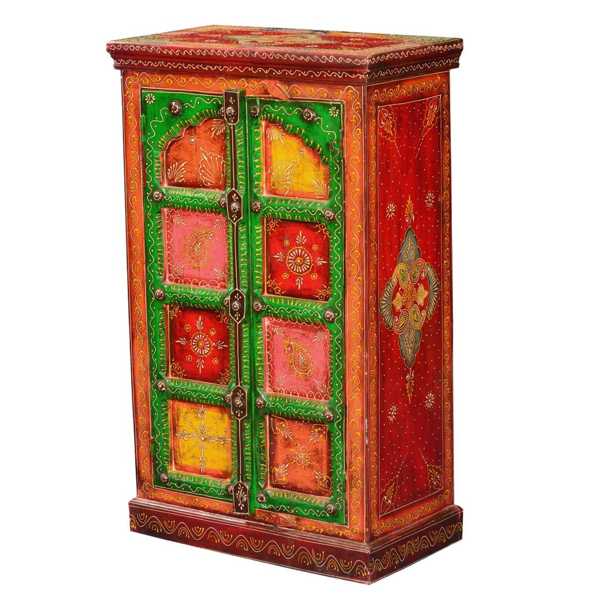 Painted Patches Mango Wood Hand Painted Free Standing Storage Cabinet. Full resolution  pic, nominally Width 1200 Height 1200 pixels, pic with #BC8F0F.