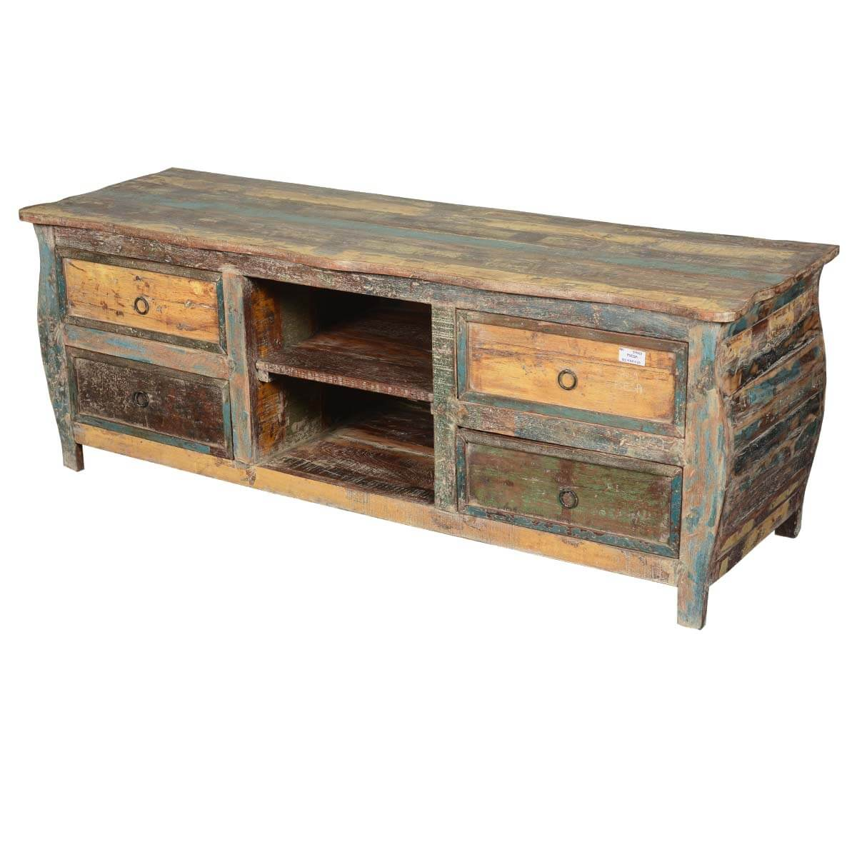 Late colonial reclaimed wood rustic kettle base tv media for Barnwood media cabinet