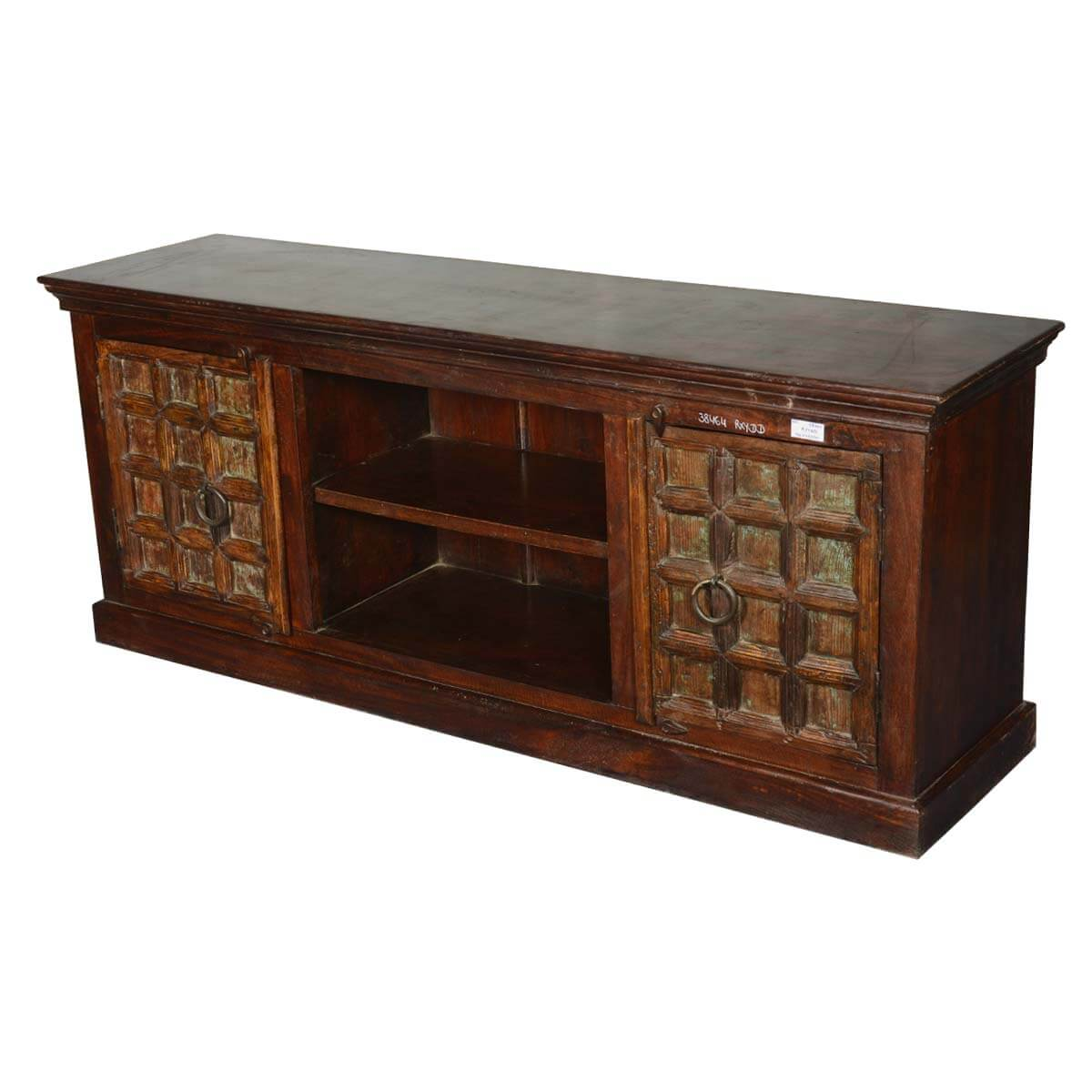 Italian gothic reclaimed wood tv console media cabinet