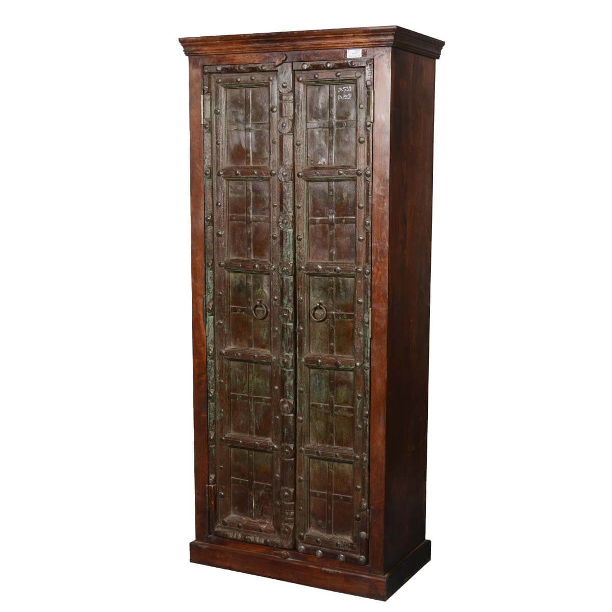 Gothic Gates Mango & Reclaimed Wood Wardrobe Armoire Cabinet. Full resolution  portrait, nominally Width 1200 Height 1200 pixels, portrait with #B27F19.