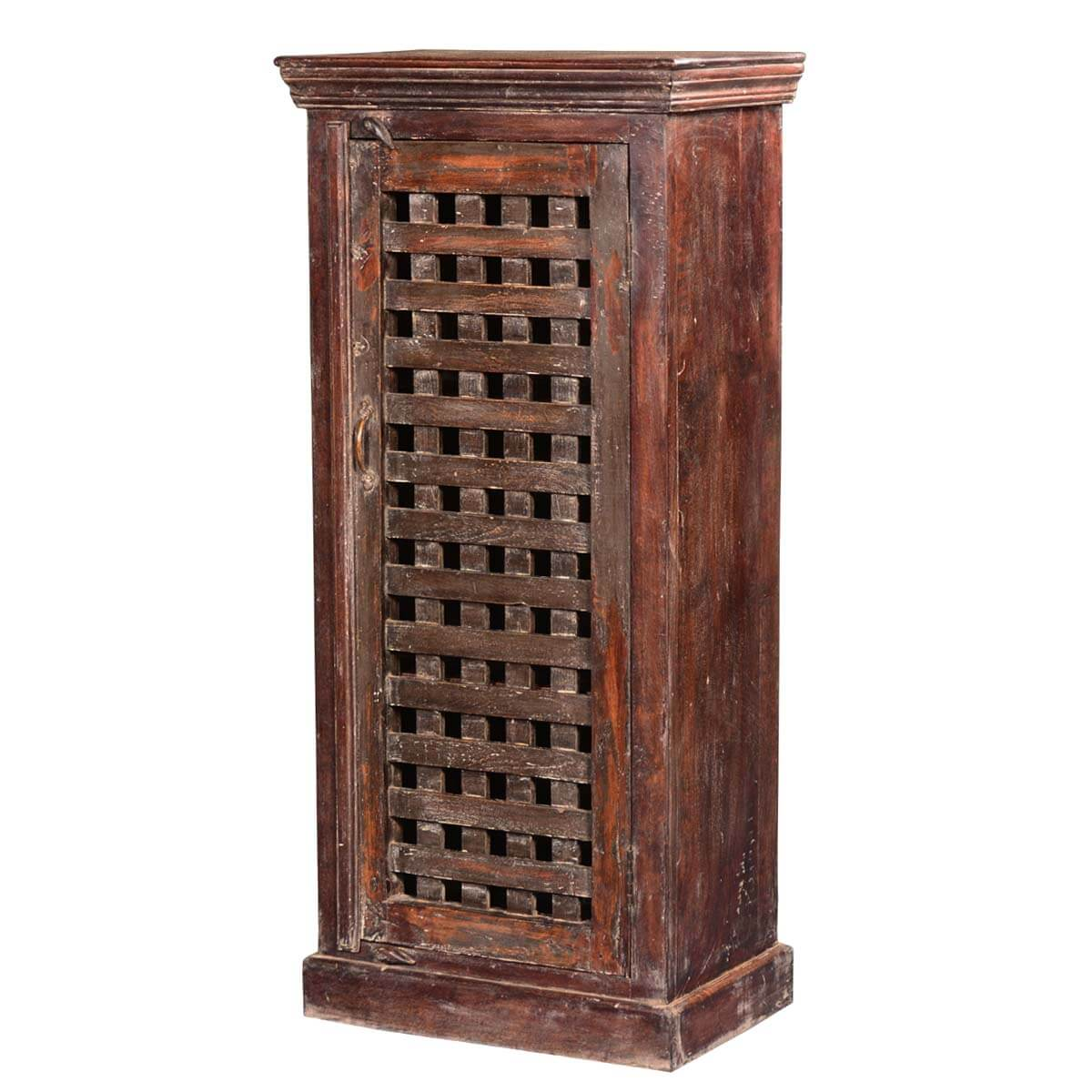 Rustic farmhouse lattice door reclaimed wood freestanding cabinet