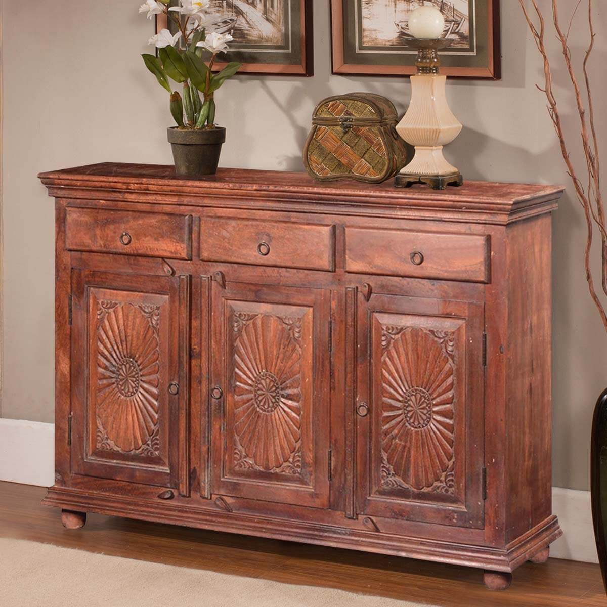 Reclaimed Wood Sideboard ~ Traditional sunburst reclaimed wood drawer sideboard cabinet