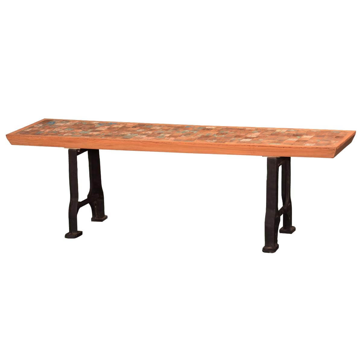 Marvelous photograph of Wooden Plaid Reclaimed Wood & Iron Saw Horse Table Bench with #B28C19 color and 1200x1200 pixels