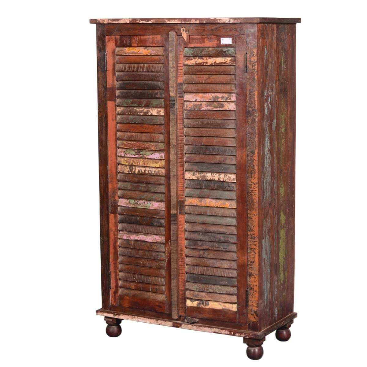 Painted shutter doors reclaimed wood wardrobe armoire cabinet for Wood cabinets
