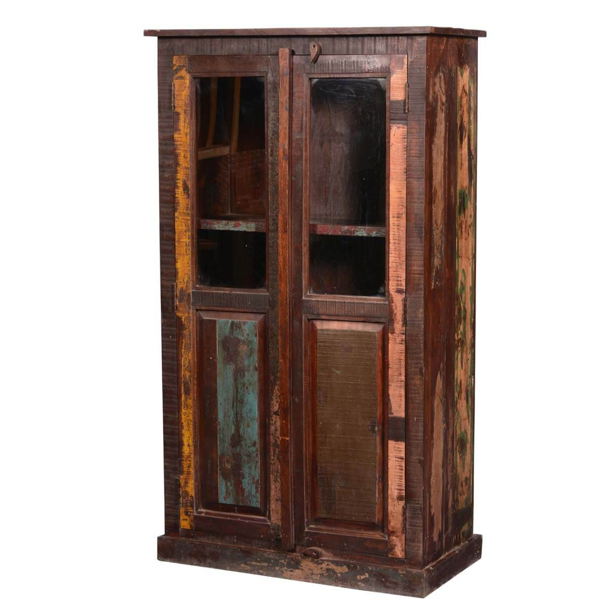 Reclaimed Wood Cabinets ~ Appalachian rustic reclaimed wood armoire display cabinet