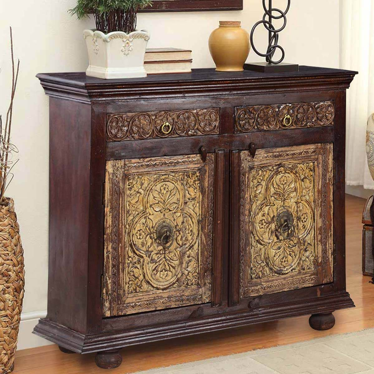 Elizabethan Floral Mango & Reclaimed Wood Buffet Sideboard Cabinet. Full resolution‎  file, nominally Width 1200 Height 1200 pixels, file with #B28C19.