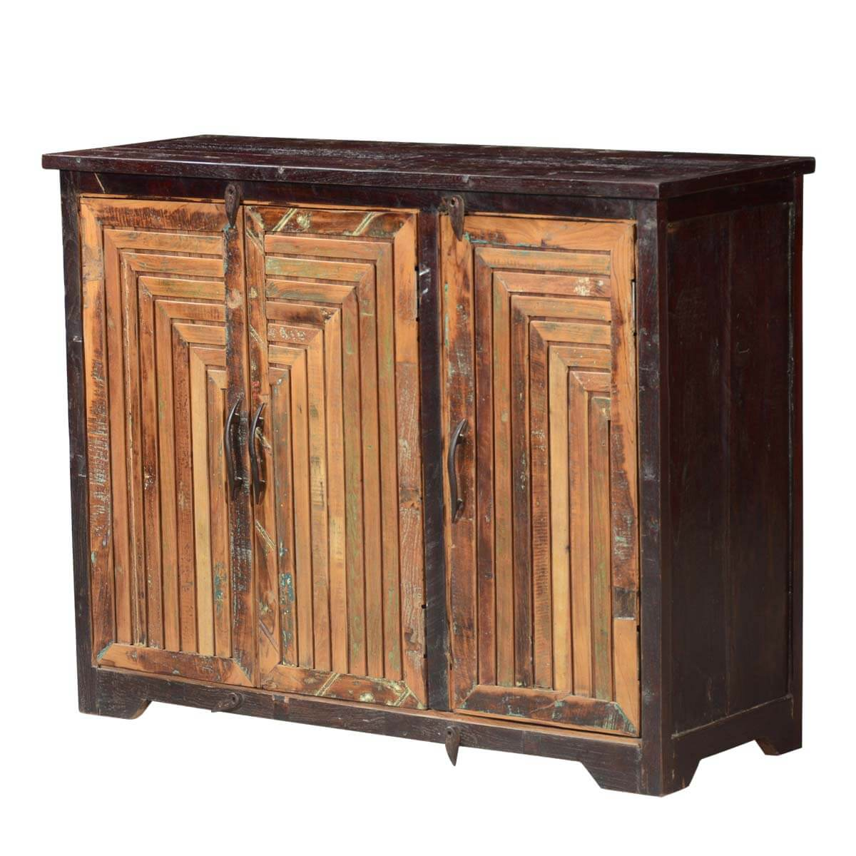 Sunburst reclaimed wood 3 door rustic storage buffet cabinet for Wood cabinets