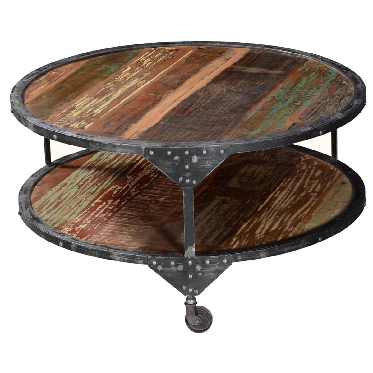 Two Tier Reclaimed Wood Iron Rolling Round Industrial Coffee Table