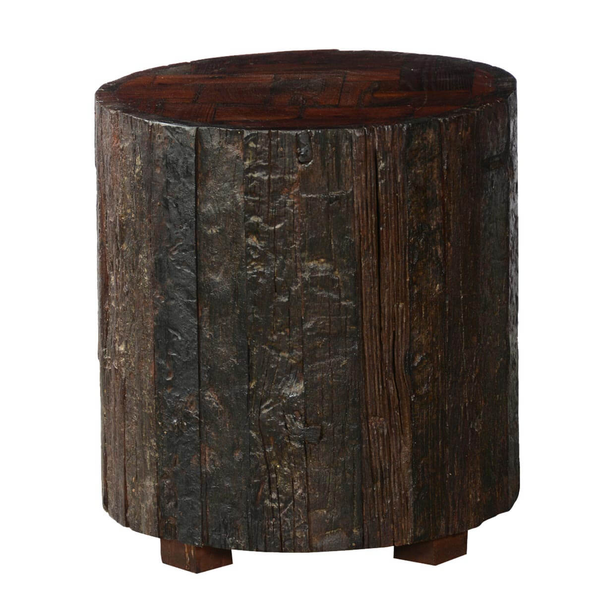 Log cabin rustic reclaimed wood stump standing end table for Wood stump end table
