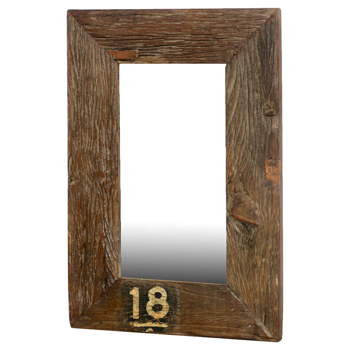 Forever 18 rustic wide framed reclaimed wood wall mirror for Rustic mirror