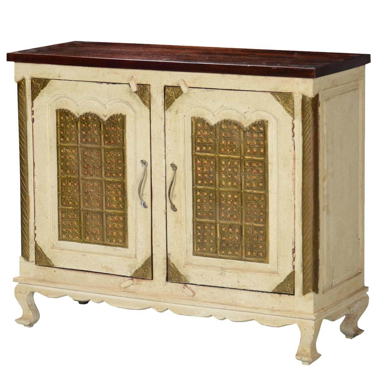 Golden Gates Antique White Mango Wood & Brass Sideboard Cabinet. Full resolution‎  file, nominally Width 1200 Height 1200 pixels, file with #A37D28.
