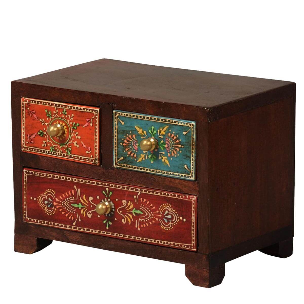 Kolkata tapestry mango wood 3 drawer hand painted jewelry for Hand painted chests