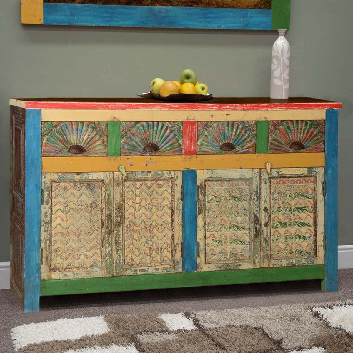 Painted Reclaimed Wood Sideboard Buffet Storage Cabinet. Full resolution‎  photograph, nominally Width 1200 Height 1200 pixels, photograph with #B28C19.