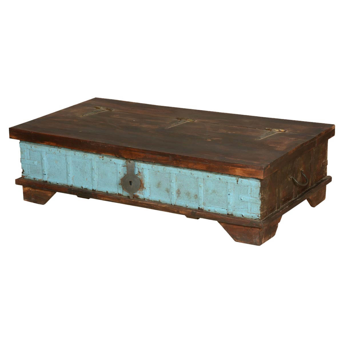 Salvaged Wood Coffee Table ~ Blue front distressed reclaimed wood coffee table chest