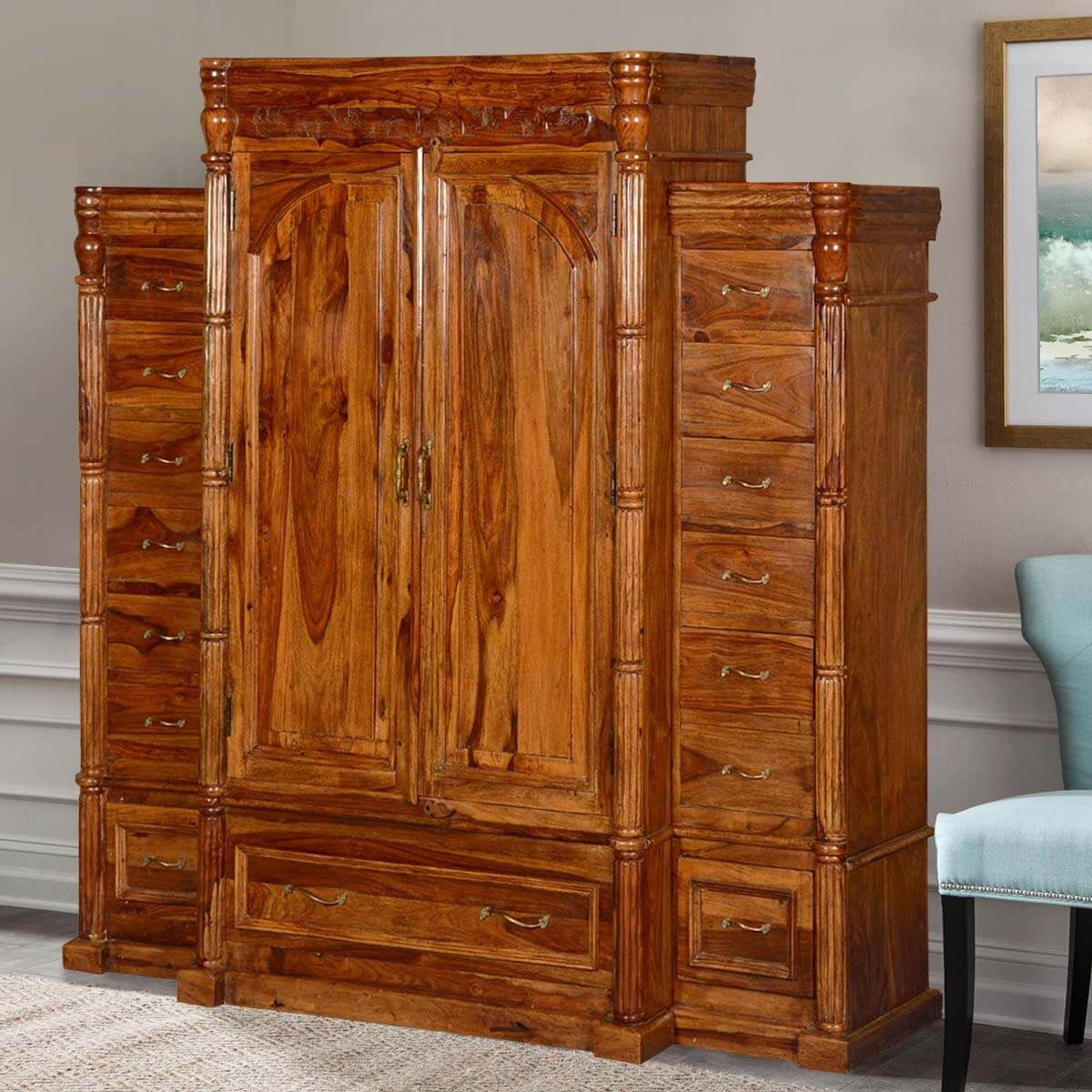 Royal Elizabethan Solid Wood Armoire 15 Drawer Wardrobe. Full resolution  portrait, nominally Width 1200 Height 1200 pixels, portrait with #AE5210.
