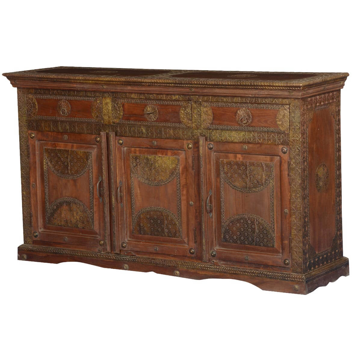Elizabethan Mango Wood & Brass Buffet Sideboard Cabinet. Full resolution‎  file, nominally Width 1200 Height 1200 pixels, file with #B28C19.