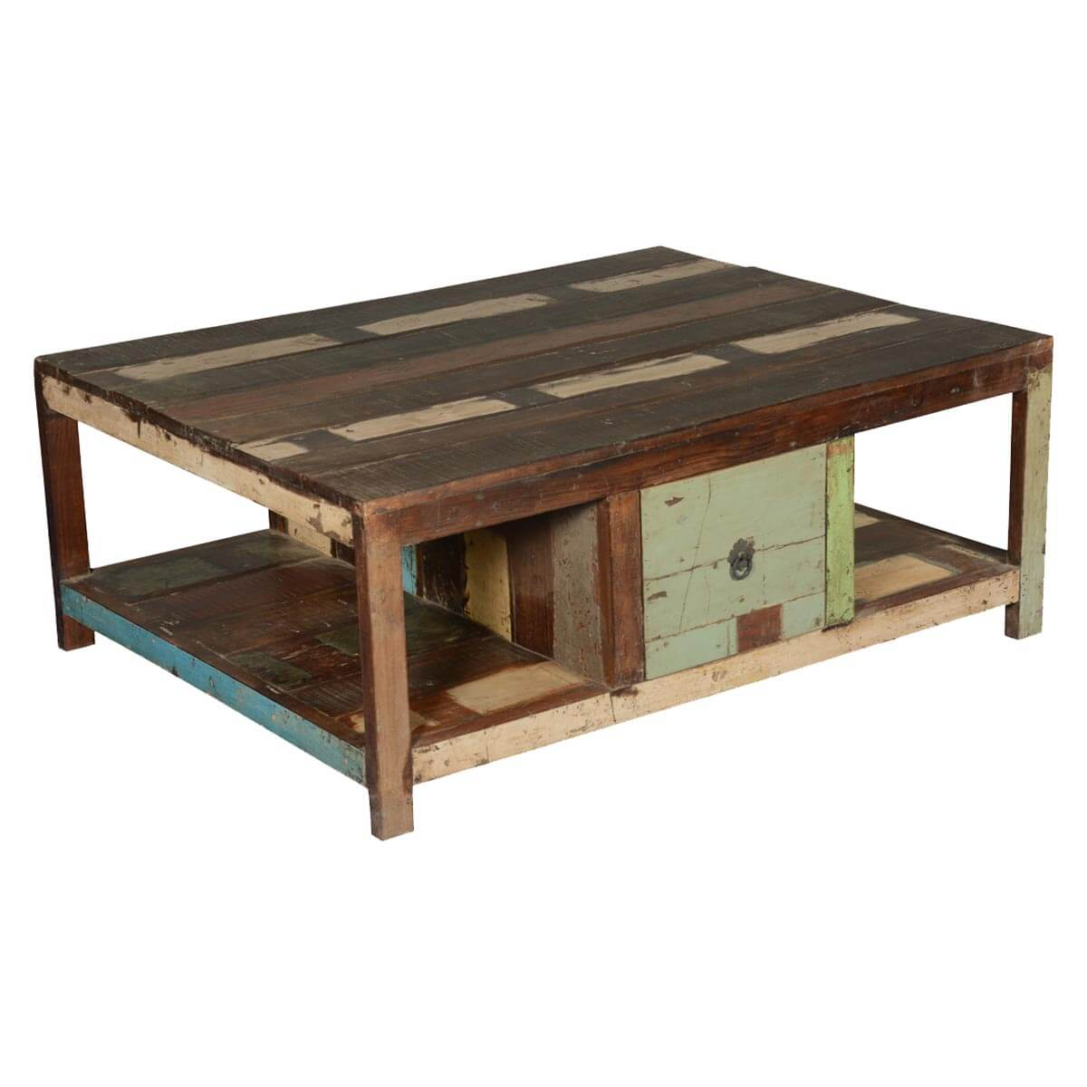 Rustic paint patches reclaimed wood 2 drawer coffee table for Reclaimed coffee table