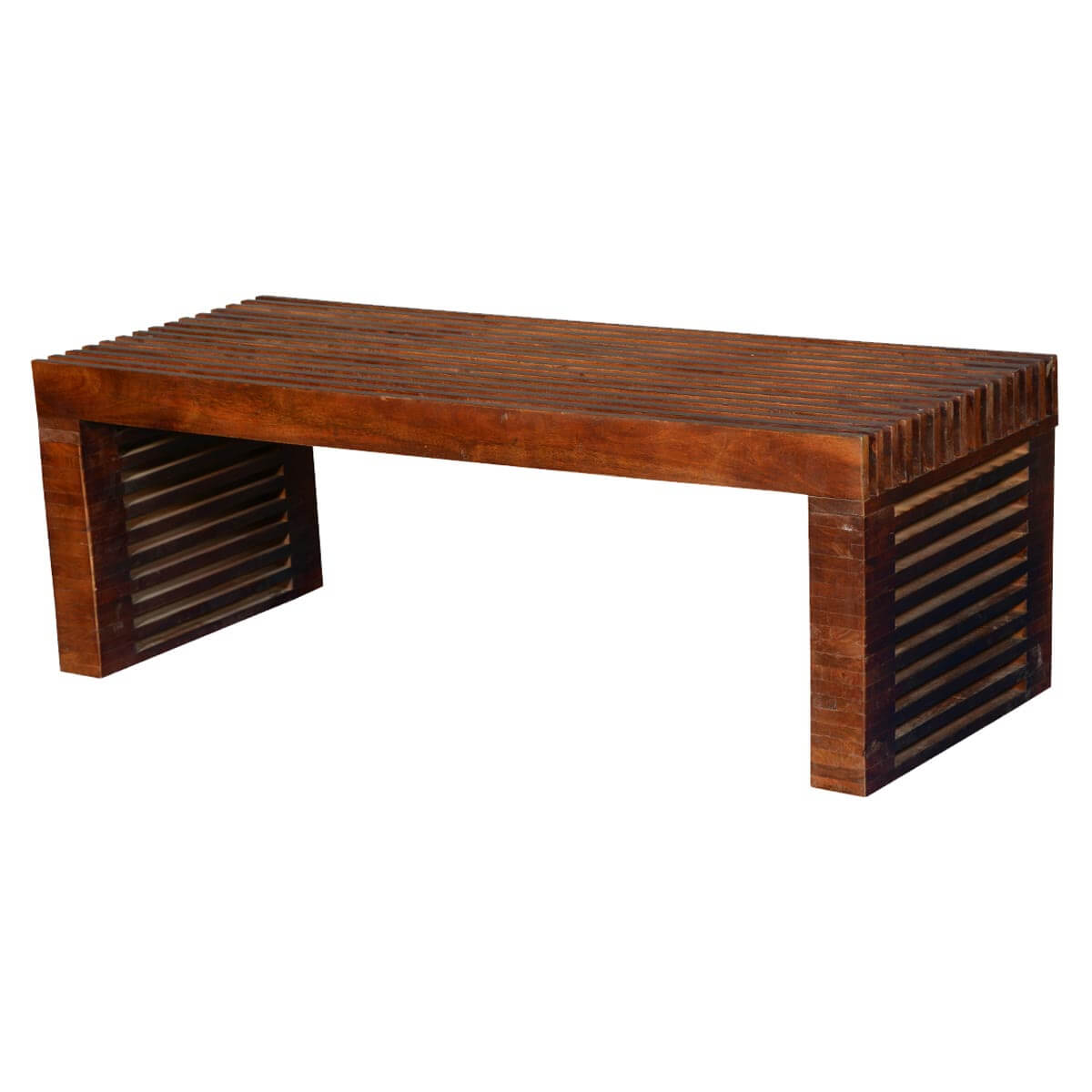 Modern Vented Slats Mango Wood Accent Coffee Table