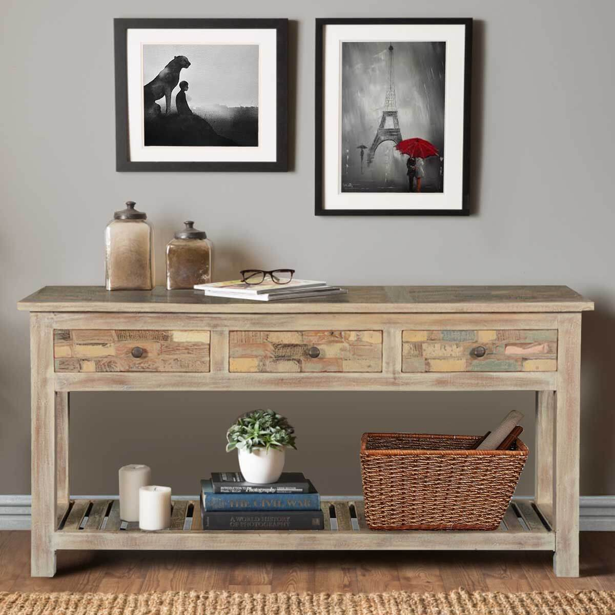 Frosted Brick Wall Reclaimed Wood Hall Console Table