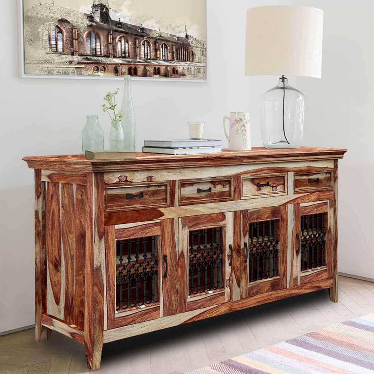 peoria modern rustic solid wood 4 door 4 drawer buffet. Black Bedroom Furniture Sets. Home Design Ideas