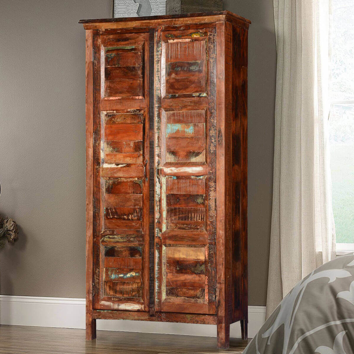 Rustic Farmhouse Reclaimed Wood Armoire Storage Cabinet. Full resolution  portrait, nominally Width 1200 Height 1200 pixels, portrait with #B27F19.