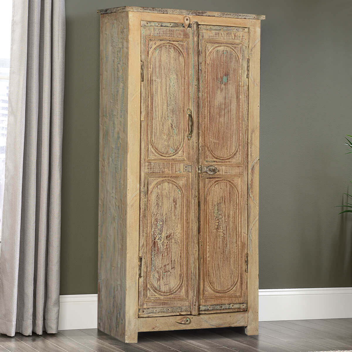 Rustic antique reclaimed wood armoire storage cabinet