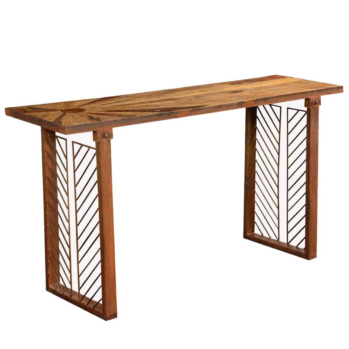 Contemporary sunburst reclaimed wood iron hall console table for Hall console table