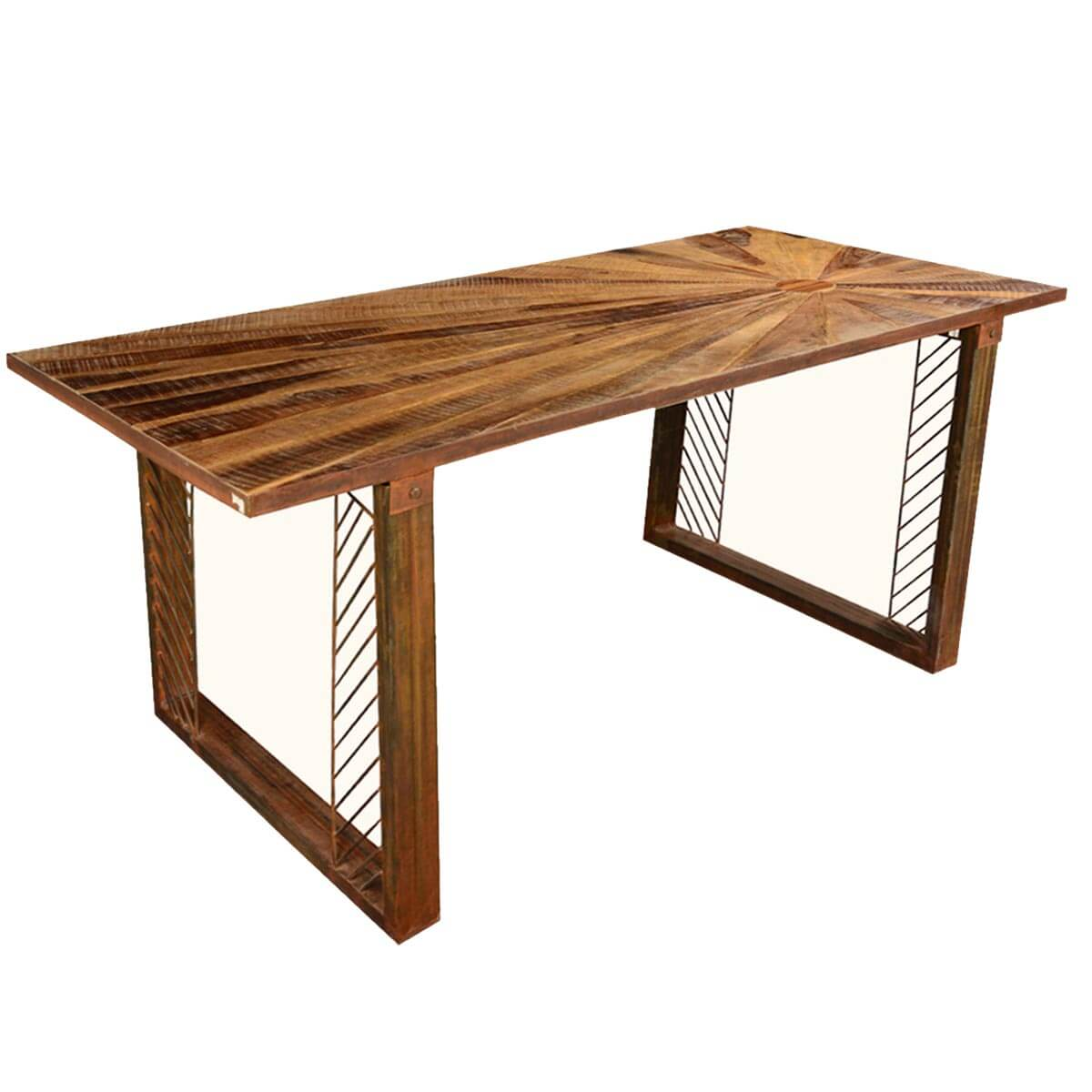 Contemporary Sunburst Reclaimed Wood Iron 71 Dining Table