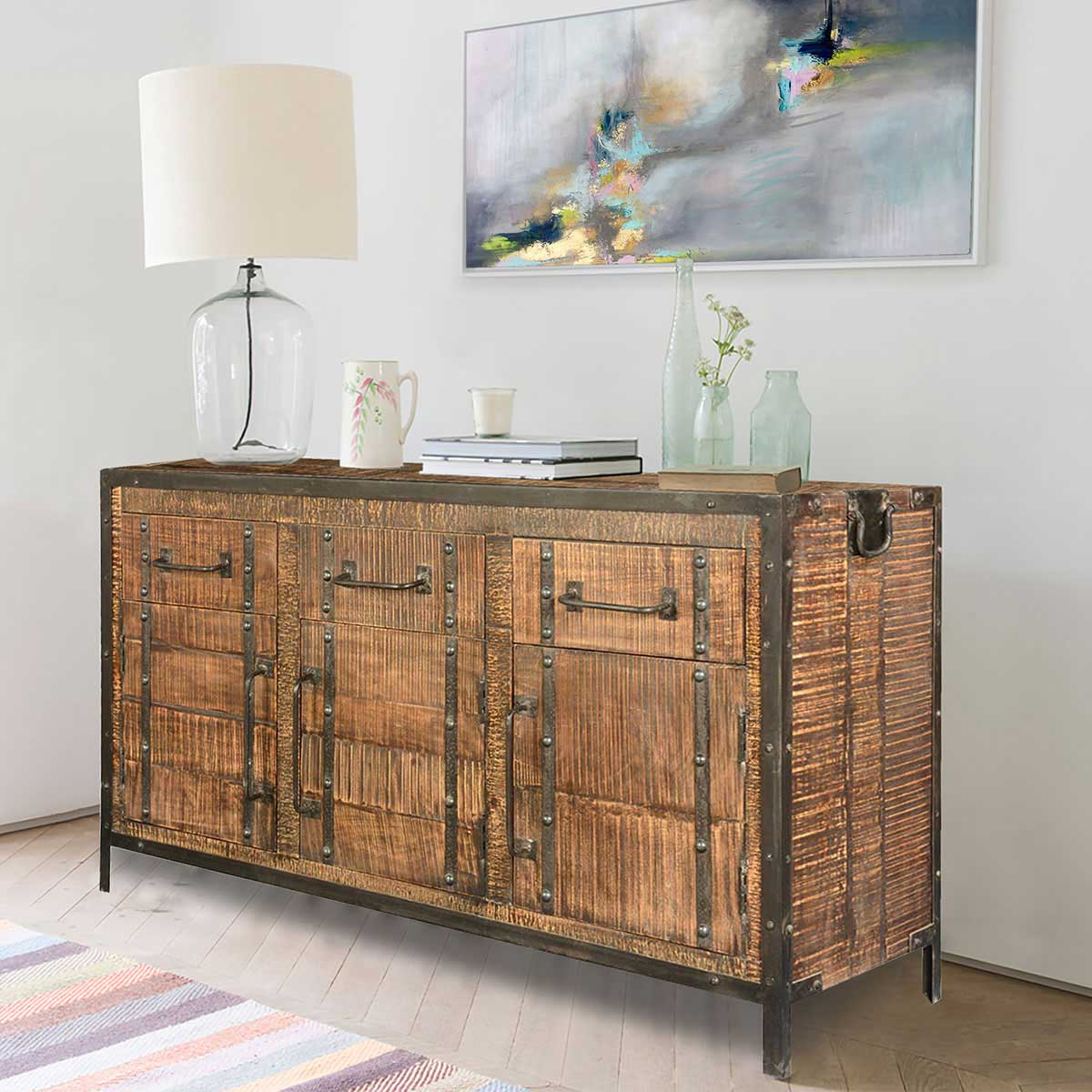 Industrial rustic iron mango wood quot sideboard cabinet